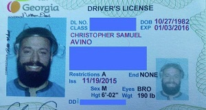 Chris Avinos wearing a colander on his temp driving license