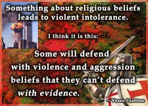 religion violence crime and mass suicide something about religious beliefs leads to violent intolerance some will defend violence and aggression