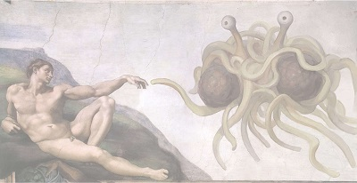The FSM reaching out His Noodly Appendage to Adam