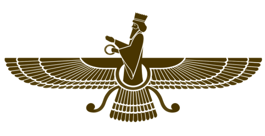 The symbol of Zoroastrianism - wide bird-like wings and a man holding a ring
