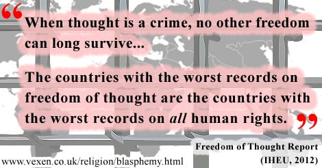 The IHEU found that 'the countries with the worst records on freedom of thought are the countries with the worst records on all human rights'.